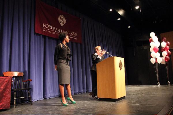 Monique John being recognized by Dr. Stone for her receipt of the Casey Feldman Foundation internship scholarship