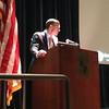 Burton LeBlanc speaking to the students at University High School in Baton Rouge.