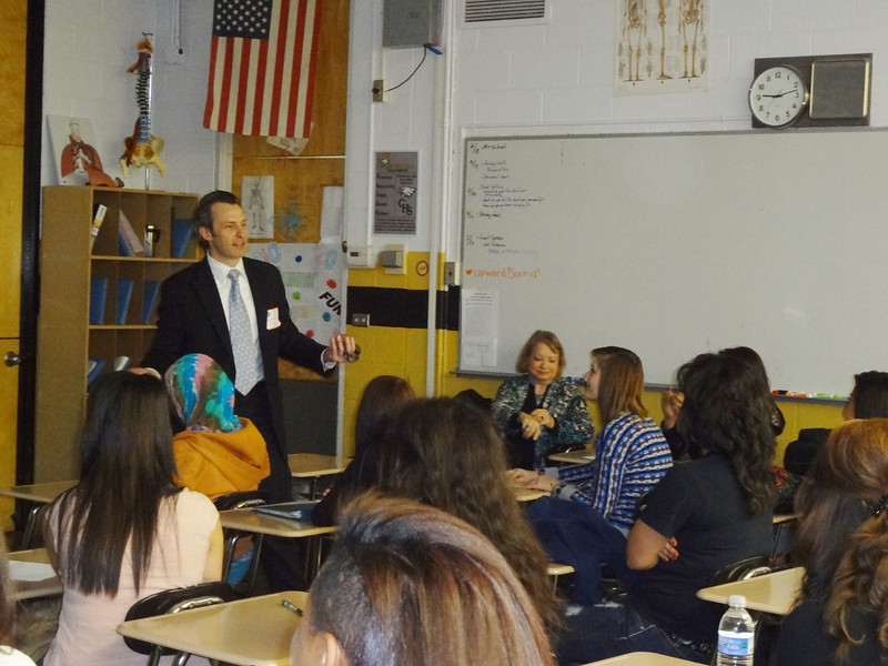 Idaho's Wyatt Johnson speaking to the students at Capital High School in Boise about distracted driving.