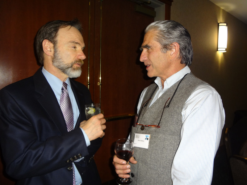 Joel Feldman speaking to Bruce Bristline, who will also be giving EndDD distracted driving presentations.