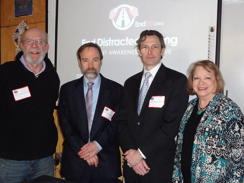 Idaho Judge Tom Borreson (L), Joel Feldman, Wyatt Johnson and Mary Alice McLarty (President of AAJ) following one of the presentations.