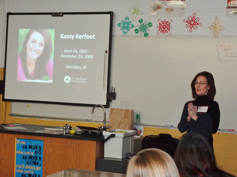 Liz Catherman, mother of the late Kassy Kerfoot, speaking to the students