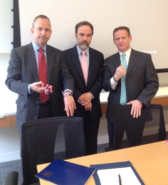 Governor Markell (L), Joel Feldman and Lt. Governor Matt Denn