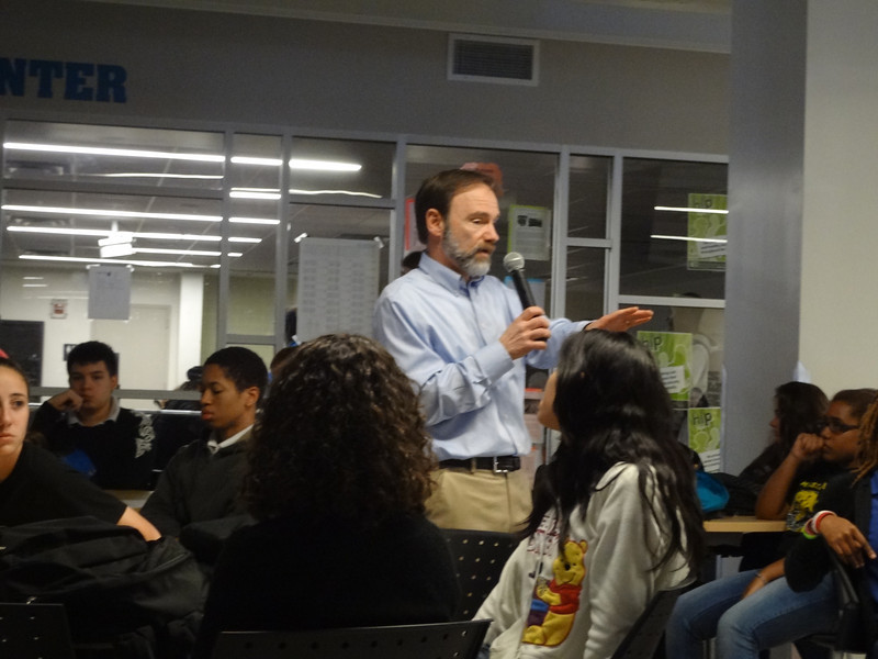 Joel Feldman speaking to the students