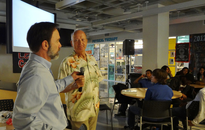 Joel Feldman (L) and Wayne Parsons from Hawaii,  speaking to the students
