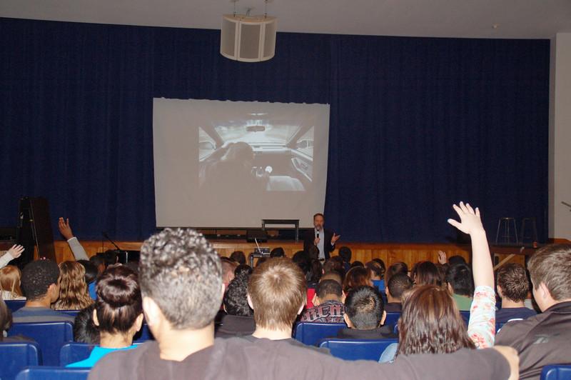 Joel Feldman speaks to students at Oakcrest High School