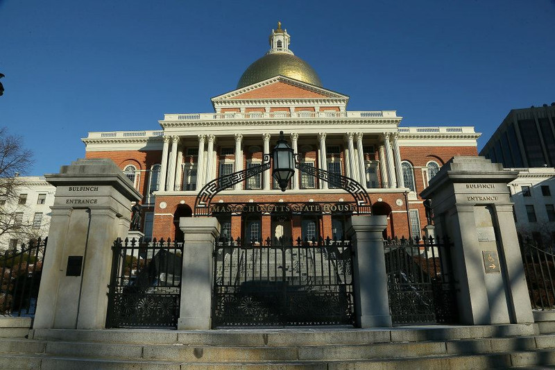 State House in Boston where press conference was held.
