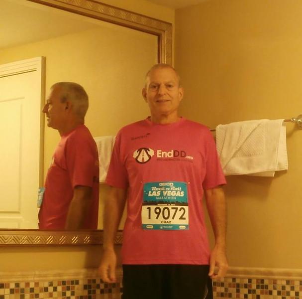 Charles Apprendi before the race. He ran the full marathon. Way to go Charles!