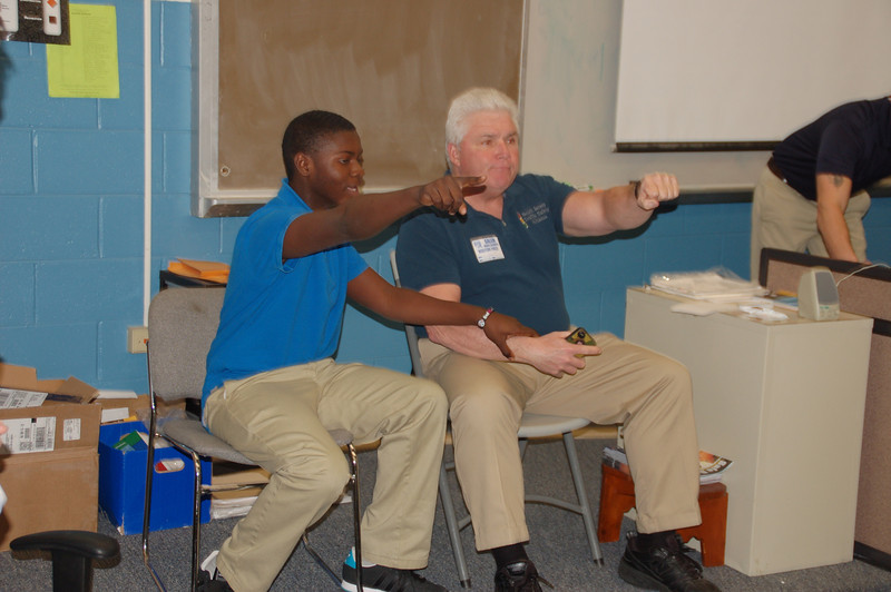 Extemporaneous role play during the presentation. Wayne Shelton of the South Jersey Traffic Safety Alliance plays the part of the parent -  distracted driver, while a student plays the part of his son, trying to convince him to drive safely.
