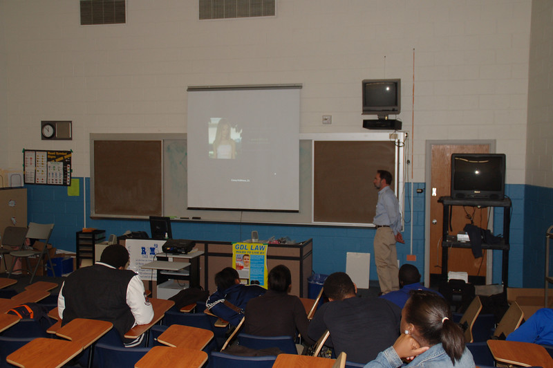 Salem High School students watch a video with Joel Feldman during the distracted driving presentation.