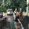 Washing the dog crates! Day of Service 2018