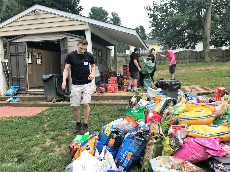 One of our Day of Service projects was emptying the food storage shed, cleaning and reorganizing it and setting aside outside food and treats.