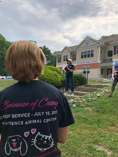 Dianne Anderson, Casey's mom, addressing the group of supporters and thanking them for being part of the Day of Service in Casey's memory.