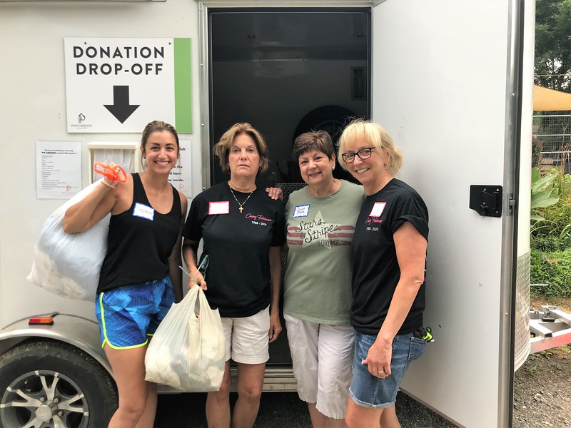 Cleaning out the donation shed! Day of Service 2018 — with Steph Marie, Robin Garrity, Mary Ann O'Shea and Patty Albany