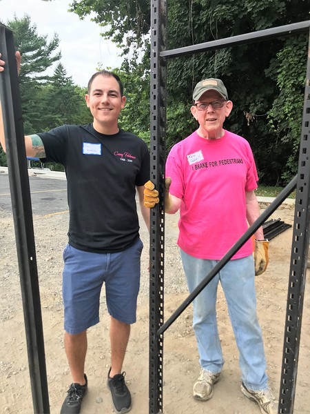 Dissasembling shelves. Day of Service 2018 — with Phil Classic Knasiak and Kenneth J Garrity Jr.
