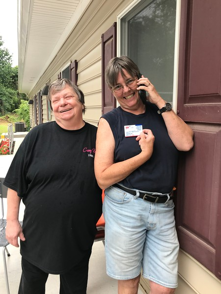 Oh no! Karen calling AAA! Did I really lock the my keys in the car?! Day of Service 2018 — with Linda Dolphin and Karen Brooks
