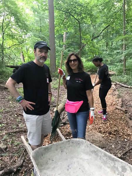 Casey's dad, Joel Feldman, working on the dog trail with Marcy and India Henderson! Day of Service 2018 — with Joel Feldman and Marcy Maimon Monheit