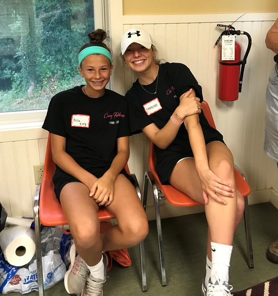 Caroline and Bella King - lunchtime at our Day of Service. Caroline was our 2018 SHS scholarship recipient! Day of Service 2018