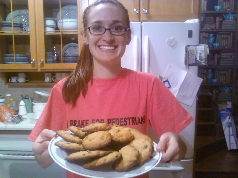 Tess Feldman proudly displays the homemade chocolate chip cookies in the kitchen of the Feldman home in Chicago.