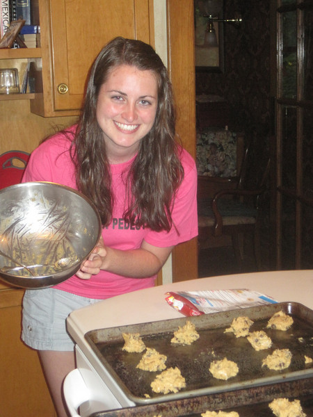 Julia baking cookies for the families at the Ronald McDonald House.