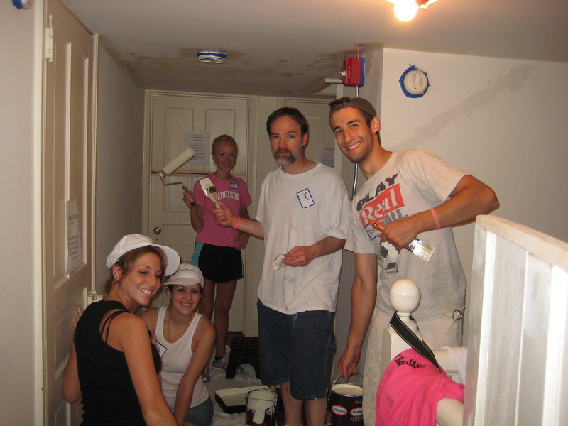 Melissa Zirolli, Annette Newlin, Emily Hobson, Joel Feldman and Matt Thornton painting the 2nd floor hallway.