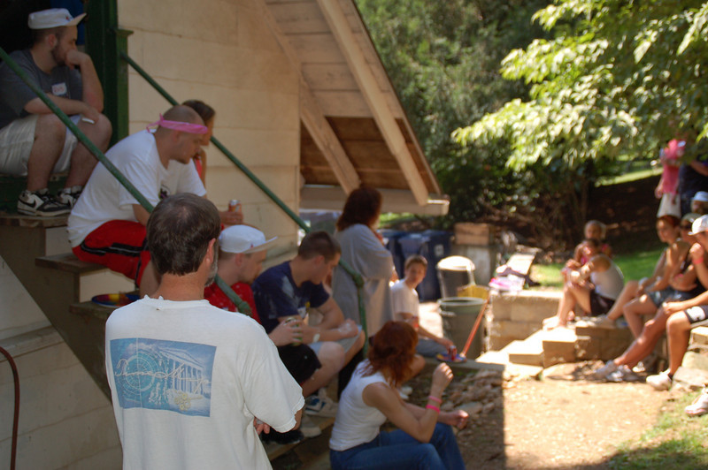 Lunch break out back while Francisval'es Executive Director, Jodi Button thanks the volunteers.