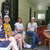 Lunch break on the front porch. Marcy Seminoff (L), Mary Ellen, Betsy and Mallory Zakeosian and Francisvale volunteer