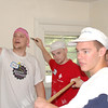 Bob Gibson, Steve Kennedy and Brett - Jason Spector in the background. The boys sang while painting and had a raucous time!