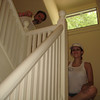 Joel and Annette Newlin at work in the stairway.