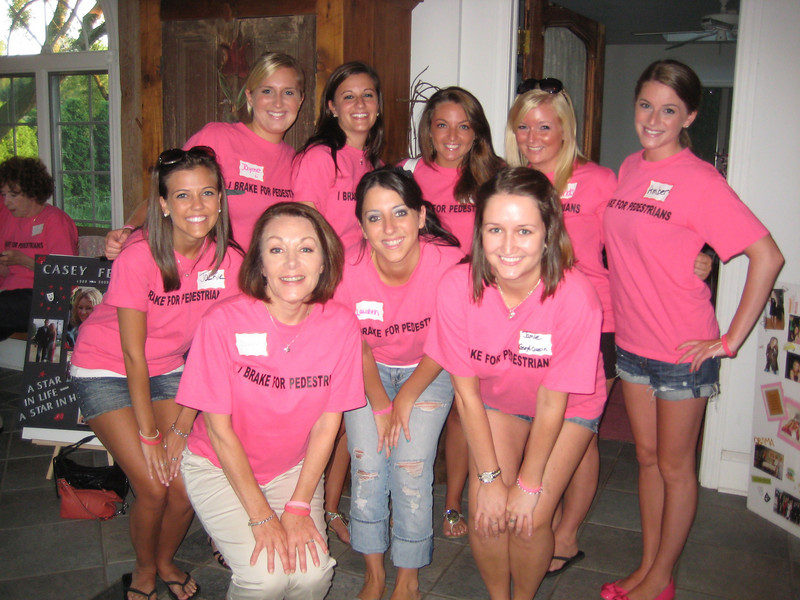 Back L: Jayme Richards, Rachael Kemmey, Kaitlyn Carullo, Lindsey Burke and Amber Staska<br /> Front L: Jackie Cahill, Dianne Anderson (Casey's mom), Lauren DiCrecchio and Jamie Gallagher (Casey's cousin)