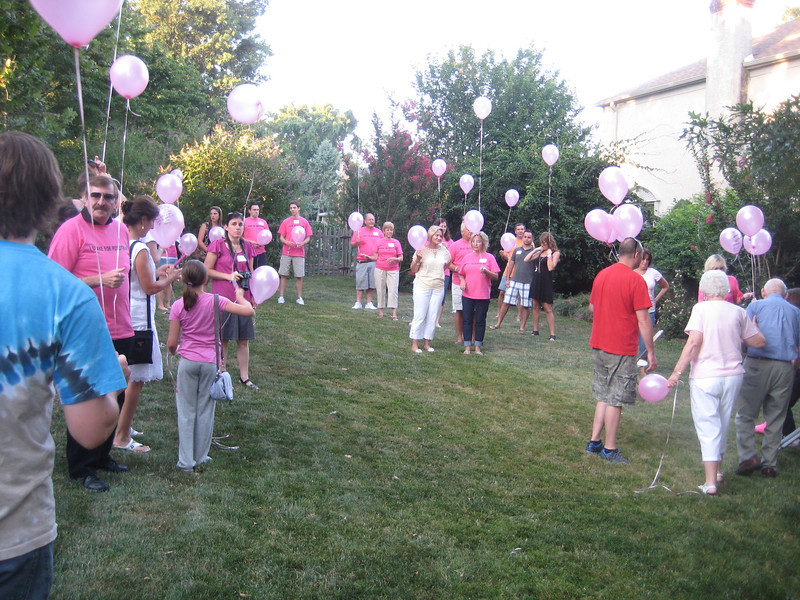 Gathering to release the balloons.
