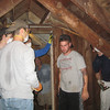 Insulating the attic! Matt Thornton, Matt Grace, Ryan Gellar and Jim Donahue.