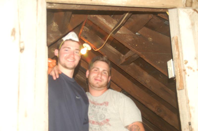 Insulating the attic!<br /> Jim Donahue (L) and Ryan Gellar