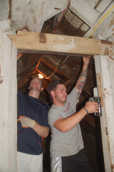 Insulating the attic!<br /> Jim Donahue (L) and Ryan Gellar