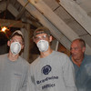 Insulating the attic!<br /> Matt Grace (L), Matt Thornton, and shelter volunteer, Paul
