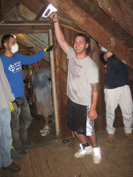 Insulating the attic! Ryan makes it looke like so much fun!