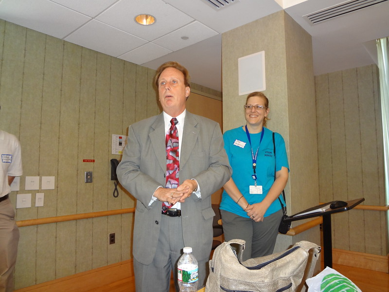 Jack Carroll, President and CEO of Magee Rehabilitation Hospital thanks the Casey Feldman volunteers for their service.