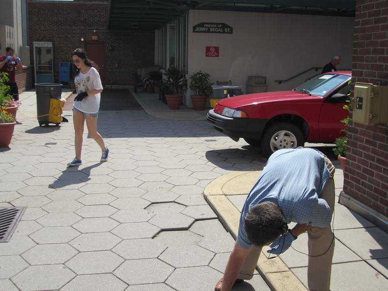 Volunteers performing cleanup services.