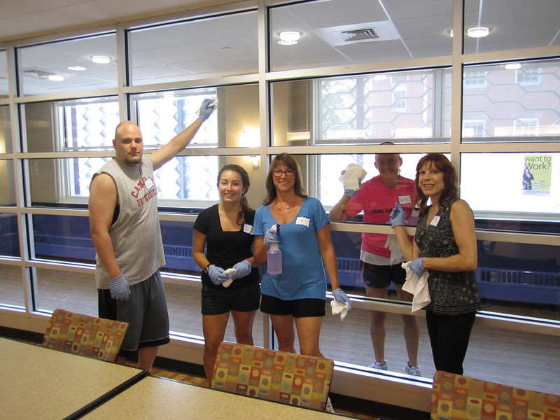Cleaning windows! Bobby Gibson, Margaret Ciavarelli, Lori Gibson & Mary Corey