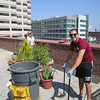 Phila Knasiak helps with cleanup