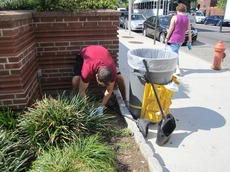 Phil Knasiak helping out with some gardening