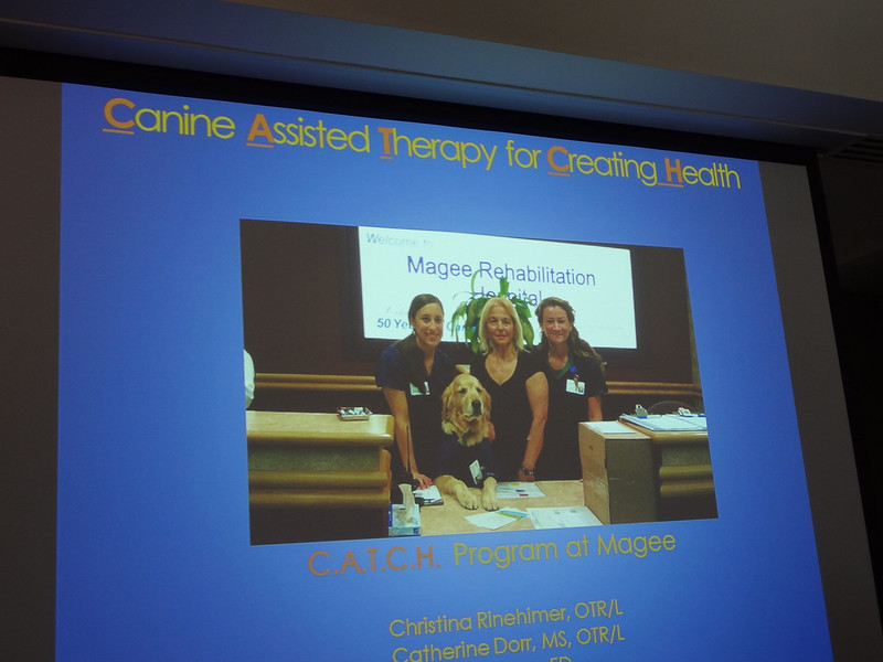 Ford's handlers, Occupational Therapists, Cate Dorr (R) and Christine Rineheimer (L) provided a lunchtime presentation about canine assisted therapy and Ford