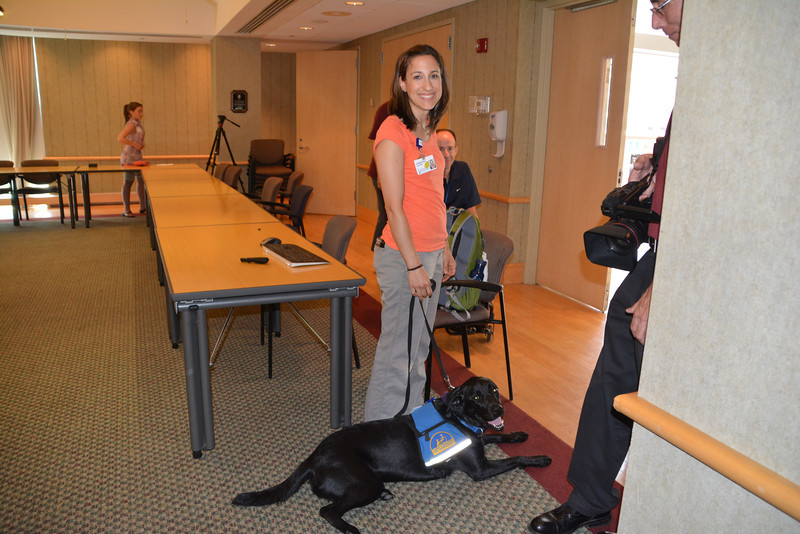 Joey with her trainer, occupational therapist, Christine