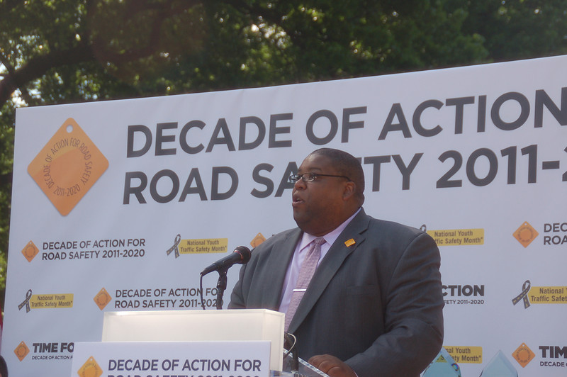 The Honorable David L. Strickland, Administrator,National Hioghway Traffic Safety Administration addressing the crowd