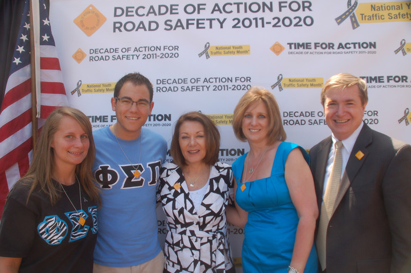 Phi Sigma Pi brothers Jessica Barr and Phil Knakiak, Casey's mother, Dianne Anderson, NOYS official, Sandy Spavone and Joe Toole, Associate Administrator for the Federal Highway Administration's (FHWA) Office of Safety