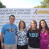 Phi Sigma Pi brothers Phil Knasiak and Jessica Barr with Casey's mom, Dianne Anderson and NOYS official, Nicole Graziosi  at the morning press event launching the Decade of Action For Road Safety 2011-2020