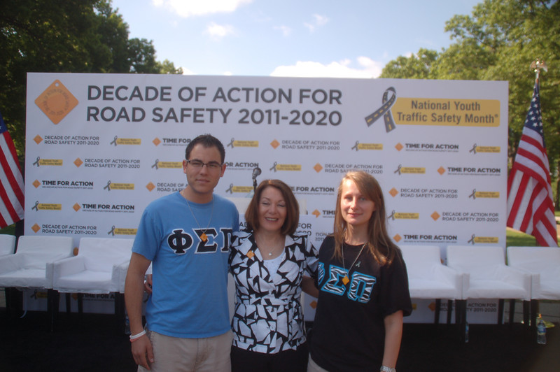 Phi Sigma Pi brothers Phil Knasiak and Jessica Barr with Dianne Anderson, Casey's mom, at the morning press event launching the Decade of Action For Road Safety 2011-2020