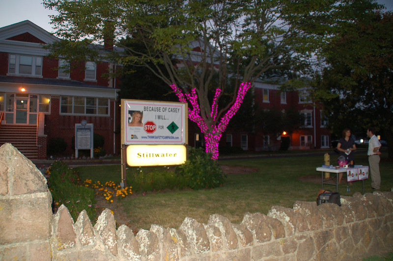 The tree  and banner stand in front of the county building at 201 S. Shore Road in Northfield.