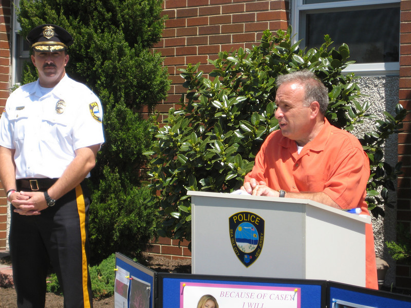 Sea Isle City Mayor Leonard Desiderio addressing the group as Police Chief,Thomas D'Intino looks on.