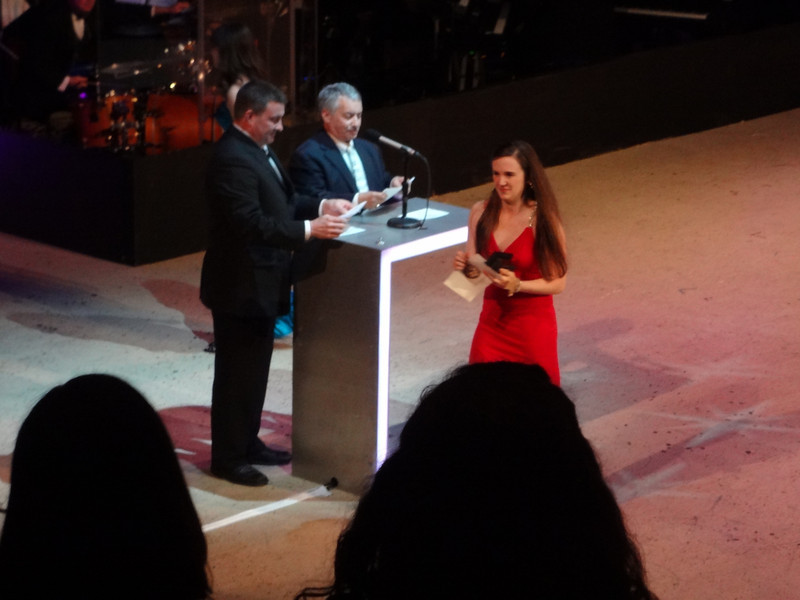 Bridget Elise Yingling  after accepting her Cappie award for - Best Featured Actress in a Play